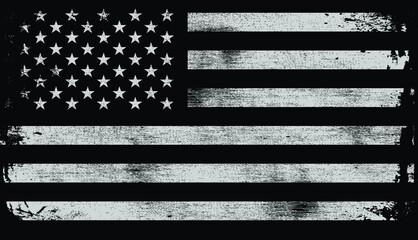 Obraz USA American grunge flag set, white isolated on black background, vector illustration. - fototapety do salonu