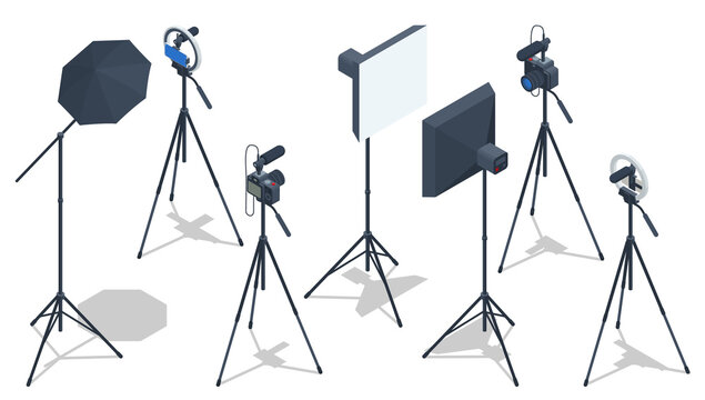 Isometric Video Blogger Recording Video With Camera. Equipment for making video for blog, vlog review or online streaming. Studio lamp light ring, selfie photo camera stick