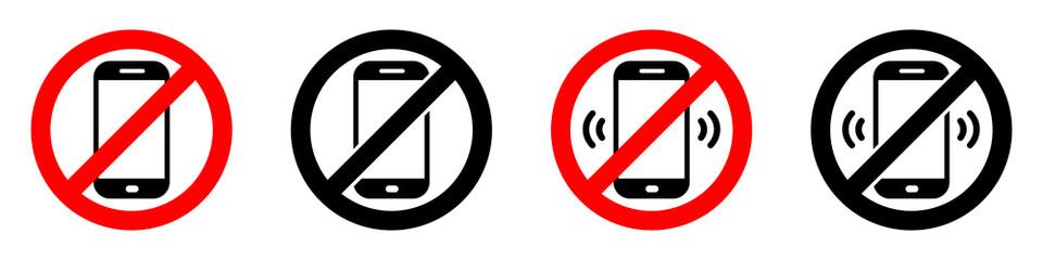 Fototapeta Warning sign no phone. No phone calls. Set of signs. Vector illustration. obraz