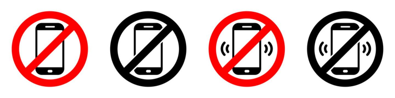 Warning sign no phone. No phone calls. Set of signs. Vector illustration.