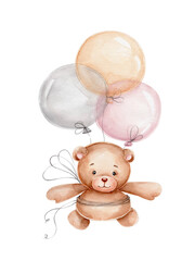 Fototapeta Teddy bear flying on balloons; watercolor hand drawn illustration; can be used for baby shower or postcards; with white isolated background obraz