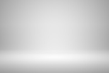 Blank white gradient background with product display. Empty studio with room floor or white...