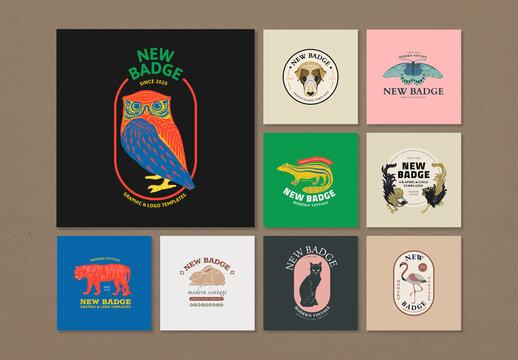 Animal Badge Linocut Set