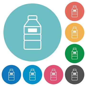 Water bottle with label flat round icons