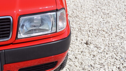 Obraz Czerwone auto, czerwony samochód, czerwony lakier, - fototapety do salonu