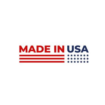 Made in USA. America Flag emblem