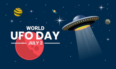 Fototapeta Vector illustration, UFO plane resembling a flying saucer, hovering in space between the planets, as a banner, poster or template, world UFO day. obraz