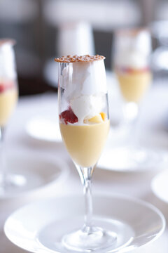 Fashionable dessert in a wine glass