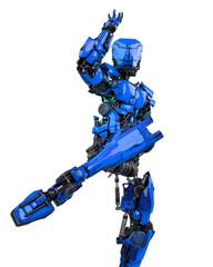 Fototapeta mega robotin is doing some kung fu fighting on white background front view obraz