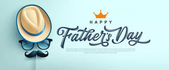 Obraz Father's Day poster or banner template with symbol of Dad from hat,glasses and mustache.Greetings and presents for Father's Day in flat lay styling.Promotion and shopping template for love dad - fototapety do salonu