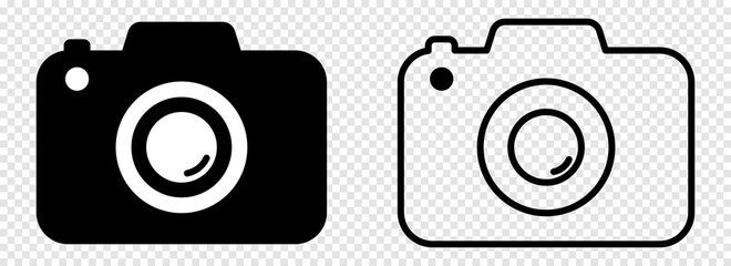 Fototapeta Camera icons. Photo camera in flat and line art style. Design for graphic and web design. Vector isolated on transparent background obraz