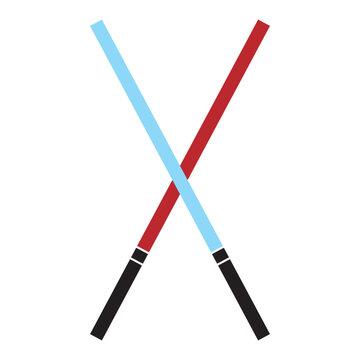 Light swords icon. Two light swords on white background. Two Crossed Light Swords Fight.