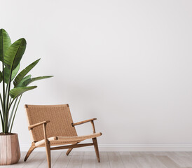 Obraz Wall mock up in white simple and minimal interior with wooden furniture, 3d render - fototapety do salonu