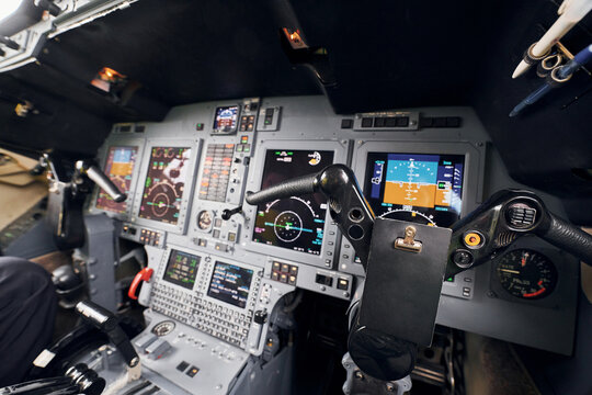 Different displays. Close up focused view of airplane cockpit
