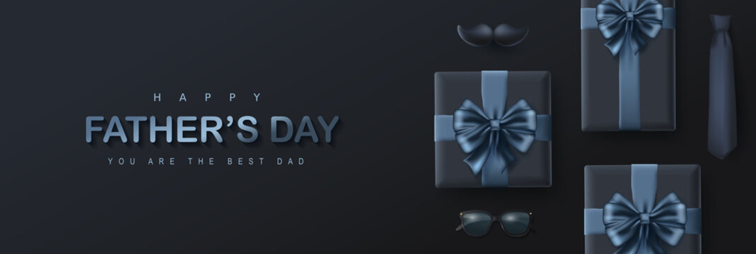 Father's Day card with gift box on dark background