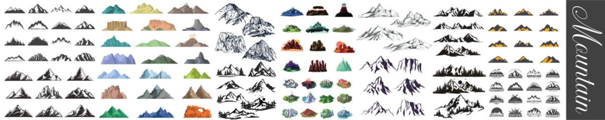 Obraz Mountain icons set, Mountain Peaks, Snowy Mountain Peaks, Mountains and Hills, Realistic or Stylized, Mountain Shapes For Logos, hand drawn mountain peaks set collection, Mountain Silhouette Clipart - fototapety do salonu