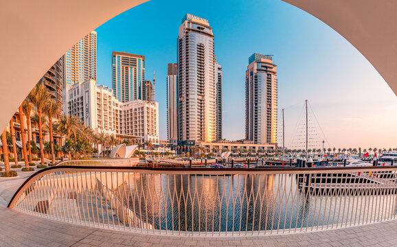 24 February 2021, Dubai, UAE: Hotels and apartment residential skyscraper buildings panoramic view in Dubai Marina Creek Harbour