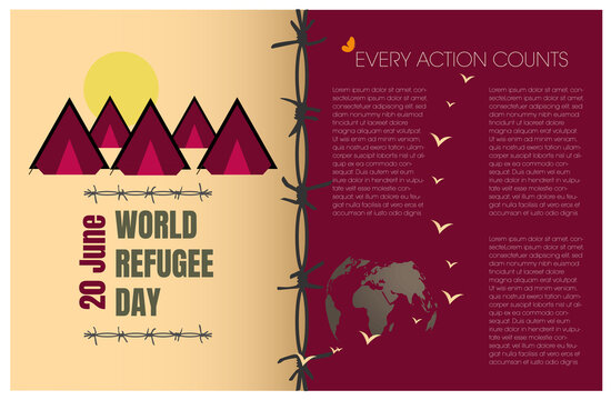 International refugee day with icons of tents and barbed wire , right copyspace .Colors in earth tones and reddish tones. Slogan all action counts Vector illustration