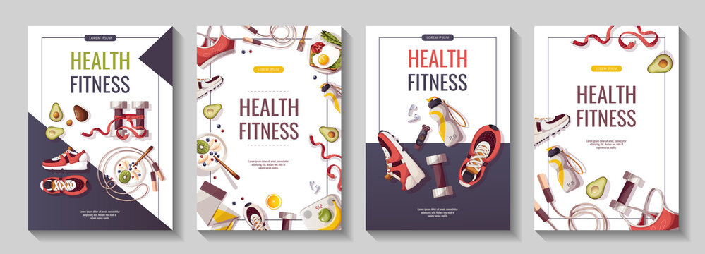 Set of flyers for Healthy lifestyle, natural food, motivation, sport equipment, fitness training, sportswear, workout. A4 vector illustration for poster, banner, flyer, special offer, advertising.