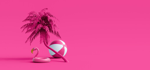Pink flamingo and palm tree on pink summer background 3D Rendering, 3D Illustration