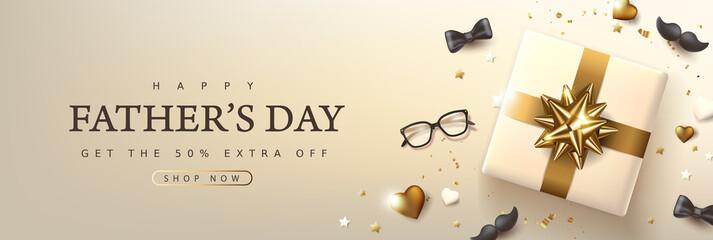 Obraz Father's Day card with luxury golden festive decoration background - fototapety do salonu