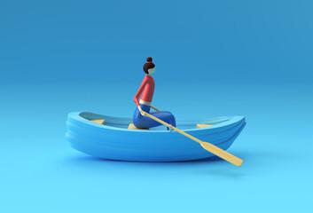Obraz 3d render of a Woman fun on boat 3d illustration. - fototapety do salonu