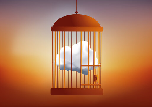 Concept of deprivation of freedom to think, with a dream symbol cloud, locked in a cage.