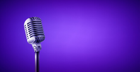 Obraz Vintage style microphone in studio. Vivid color banner with copy space - fototapety do salonu