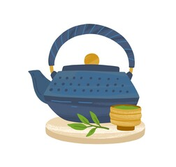 Obraz Japanese cast-iron teapot, matcha powder in wooden bowl and green tea leaf served on bamboo board. Asian traditional kettle. Colored flat vector illustration isolated on white background - fototapety do salonu