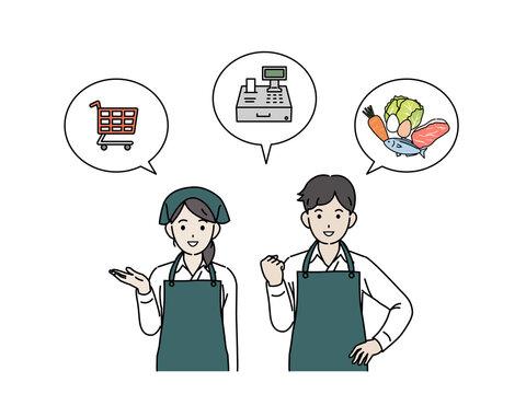 スーパーの店員 パート アルバイト エプロン姿の男女 イラスト素材