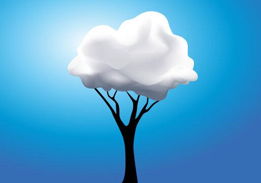 Concept de la rêverie surréaliste avec un arbre dont le feuillage est remplacé par un nuage blanc.