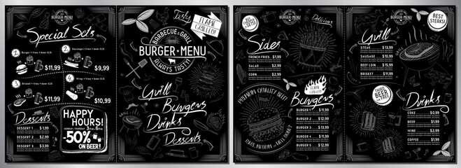 Fototapeta Burger bar menu template - A3 to A4 size (sides, burgers, grill, drinks, sets) - vector illustration obraz