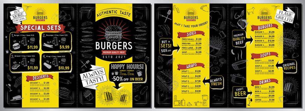 Burger bar menu template - A3 to A4 size (sides, wraps, burgers, soups, drinks, sets) - vector illustration