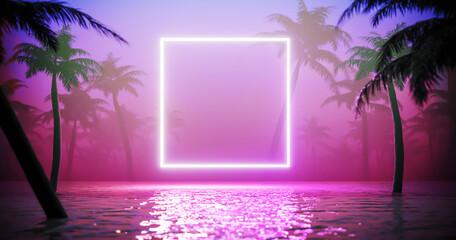 Jungle neon achtergrond. Damp Golf tropische achtergrond concept.