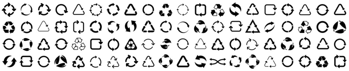 Obraz Biodegradable, compostable, recyclable icon set. Set of arrow recycle. Mega set of recycle icon. Green recycling and rotation arrow icon pack.Vector illustration - fototapety do salonu