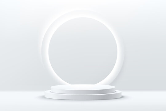 Abstract shiny silver cylinder pedestal podium. Sci-fi white empty room concept with circle glowing neon lighting. Vector rendering 3d shape, Product display presentation. Futuristic white wall scene.