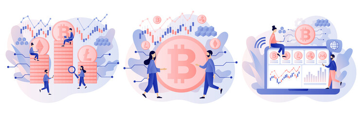 Fototapeta Crypto currency. Bitcoin, altcoin. Digital web money. Blockchain. Fintech industry. Business, finance. Tiny people trading and investing. Modern flat cartoon style. Vector illustration  obraz
