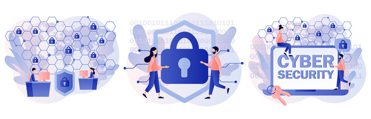 Fototapeta Cyber security. Global network security. Data protection. Tiny people protection of computer services and electronic information. Digital access and online safety. Modern flat cartoon style. Vector  obraz