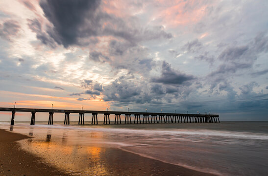 Wrightsville beach at sunrise with dramatic clouds