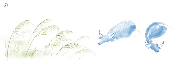 Two water buffalo in river and leaves of green grass. Traditional oriental ink painting sumi-e, u-sin, go-hua on white background. Hieroglyph - harmony.