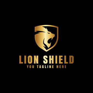 lion shield gold logo design for logo template