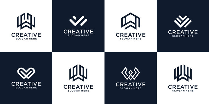 Set of abstract initial letters w monogram logo template, icon for business