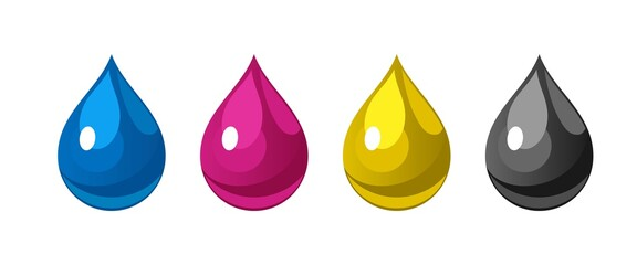 Vector set of ink drops of cyan, magenta, yellow, black color. CMYK color model in the form of drops
