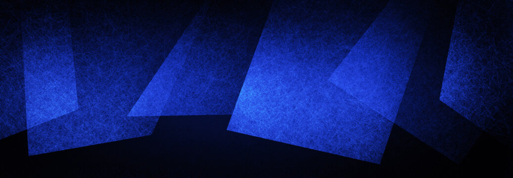 abstract black and blue background, geometric shapes layered in random pattern, creative border decoration with texture and abstract triangle and block shapes