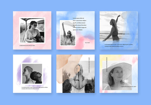 Watercolor Social Media Layouts with Photo Placeholders