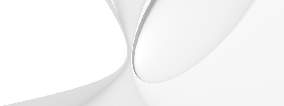 White Building Background. Abstract Circular Design. 3d Rendering