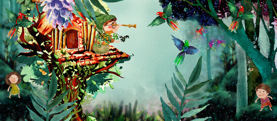 Exotic vacation. Watercolor background for children