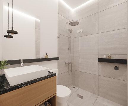 Cuarto de baño con mueble en madera y mármol negro, 3d render