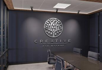 Fototapeta Logo Mockup on Office Wall with 3D Glossy Metal Effect obraz