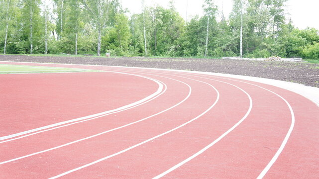 Running track in red with a carbon coating around the stadium with white dividing stripes